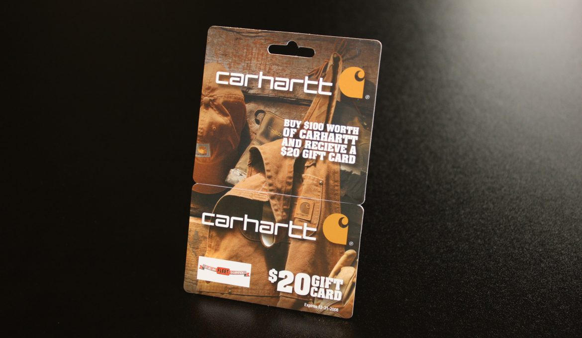 HANGING GIFT CARDS ARE MINI BILLBOARDS FOR CARHARTT