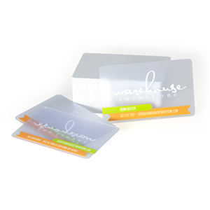 Frosted plastic cards in clear and solid